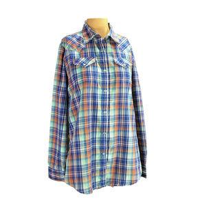 Wrangler Blue Plaid Pearl Snap Western Shirt L